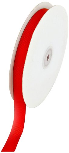 Creative Ideas 50-Yard Solid Grosgrain Ribbon, 5/8-Inch, Red -
