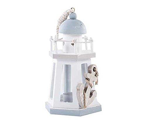 MAXIOCCASIONI Lanterna faro, portacandela stile marinaro, legno, bianco azzurro
