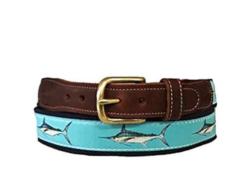 - Men's Preston Leather Ribbon Ocean Blue Marlin Fish Belt (46)