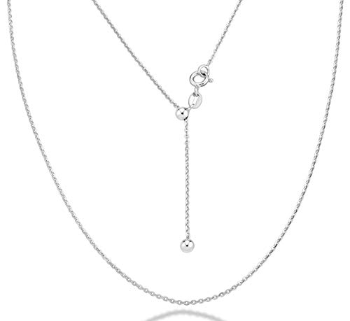 Miabella 925 Sterling Silver Italian 1.3mm Adjustable Solid Diamond Cut Thin Bolo Cable Chain Necklace for Women, Slider Chain 14-24 Inch Made in Italy (Sterling-Silver)