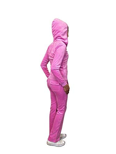 Instar Mode Womens Zip up Plush Soft Velour Jogging Track Suit (VS795110 Bright Fuschia, Large)