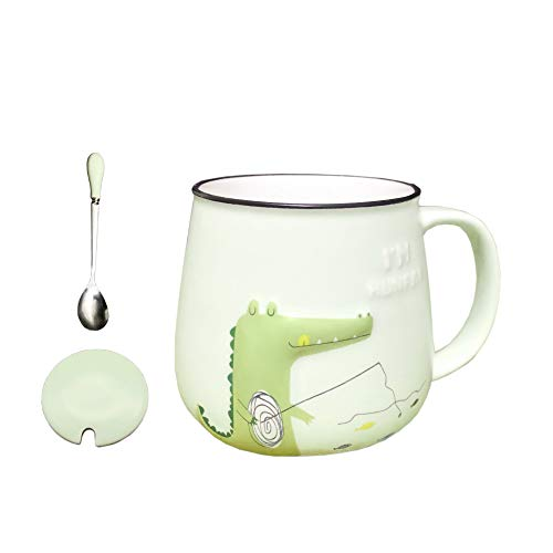 DecoLife Cute Dinosaur Coffee Mug (12 Oz) White Ceramic Mug With Emboss Carto Unon Pattern - Perfect Gift For Birthday And Festivals, Green