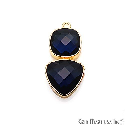 Hydro Sapphire Gemstone Pendant, Necklace Pendant, Single Bail Pendant, 27x13mm Gold Plated Single Bail GemMartUSA (GPHS-90064)
