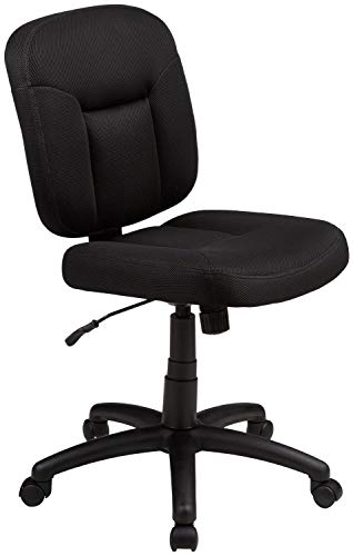 AmazonBasics Low-Back Task Chair with Swivel Casters - Black (Renewed)