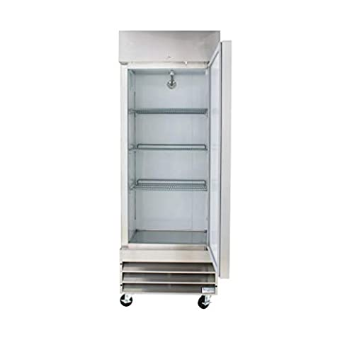 Peak Cold Single Door Commercial Reach In Stainless Steel Freezer, White Interior; 23 Cubic Ft, 29″ Wide