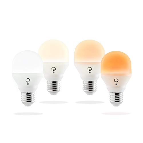 (LIFX A19 Mini Day and Dusk White Wi-Fi Smart LED Light Bulb, Dimmable, No Hub Required, App and Voice Control, Works with Amazon Alexa, Apple HomeKit, Google Assistant and Microsoft Cortana - 4 Pack)