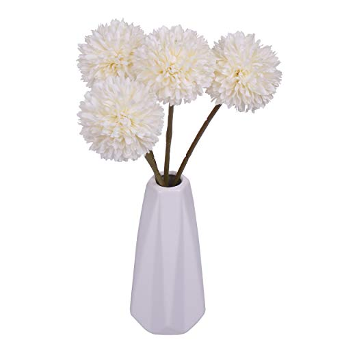 Miss Bloom Artificial Hydrangea 4 Heads with Ceramics Vase | Silk Flowers Desk Decorations for Women Office | Fake Flower Centerpiece Decor for Kitchen Table (White)
