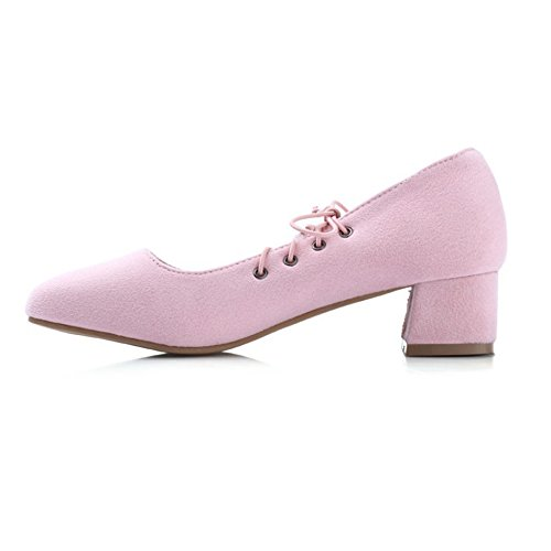 Eclimb Femmes Faux Suede Bas Chunky Bas Talon Pompes Chaussures Rose