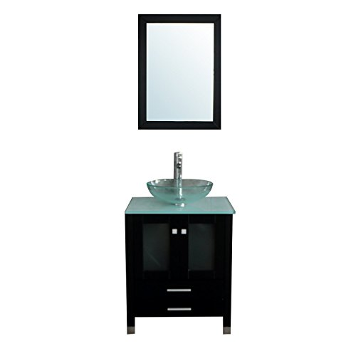 "BATHJOY 24"" Modern Wood Bathroom Vanity Cabinet Tempered Clear Glass Vessel Sink Top Bowl Free Faucet Drain with Mirror"
