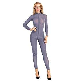 Msemis Sexy Womens Mesh See Through Bodystocking Full Body Catsuit Teddy Bodysuit