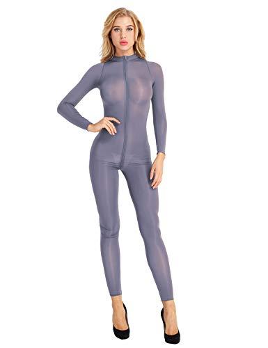 (MSemis Sexy Womens Mesh See Through Bodystocking Full Body Catsuit Teddy Bodysuit Gray Medium)