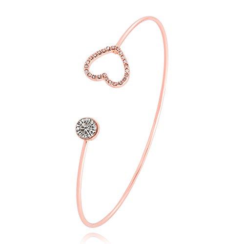 SENFAI Full Rhinestone Heart Moon Geometric Figure Open Bangle and Bracelet for Girls (Heart Rose ()