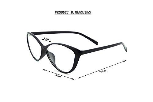 Ladies Cateye Glasses Frames Blue Blocking Clear Lens Computer Reading Glasses-5865(black,demo - Frame Under Glasses