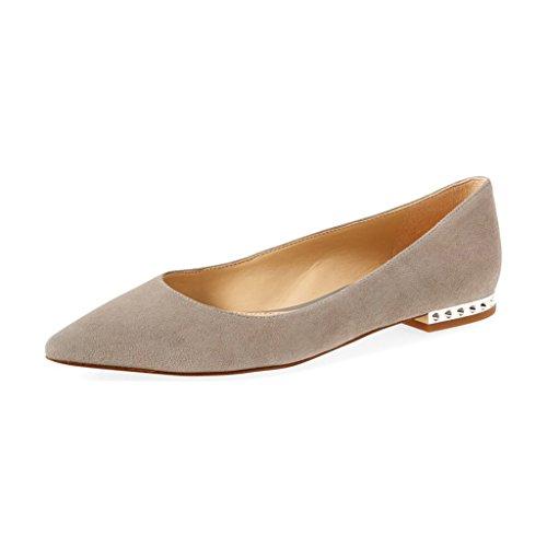XYD Women's Chic Pointed Toe Slip On Flats Low Heel Ballet Loafer Slide Daily Walking Shoes Size 7 Dark (Pointy Toe Women Dress Pump)