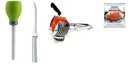Trudeau Tomato Corer + Norpro Tomato Onion Holder + Rada Cutlery Slicing Knife + Rada Quick Mix, Garden Fresh Salsa, 4-Piece Set
