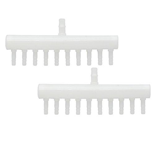 Tubing Splitter (Saim Plastic Aquarium Fish Tank 10 Way Air Flow Controller Pump Tubing Splitter Valve 2 Pcs, White)