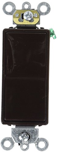 Leviton 5621-2 20-Amp 120/277-Volt Decora Plus Rocker Single-Pole Ac Quiet Switch, Brown