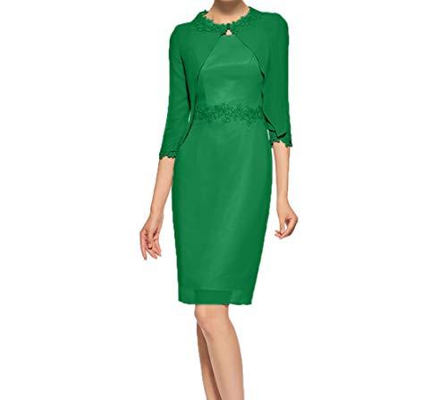Etuikleider Jaket Abendkleider mit Kurzes Grün Jungendweihe Chiffon Damen Charmant Knielang Partykleider Kleider q8TvwpIB