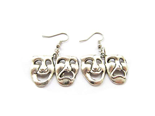 (Tragedy and Comedy Earrings, Drama Theme, Happy Sad Masks, Gift for Actress, Theater Mask Faces, Theater Lover Gift Drama)