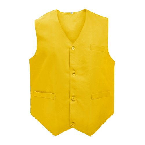 TOPTIE Waiter Uniform Unisex Vest for Supermarket Clerk & Volunteer, Yellow