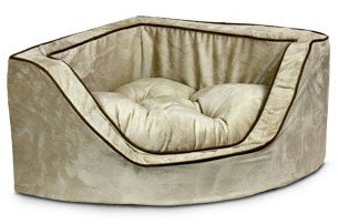 Donut Bed Luxury Dog (Snoozer Luxury Corner Pet Bed, Large, Red/Camel)
