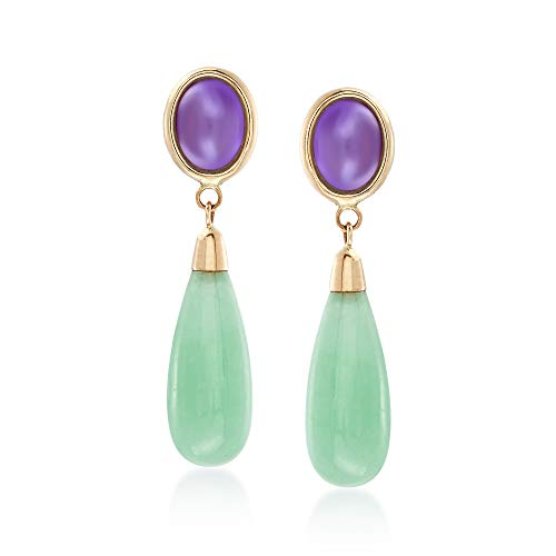Oval Green Jade 14kt Earrings - Ross-Simons Lavender and Green Jade Drop Earrings in 14kt Yellow Gold