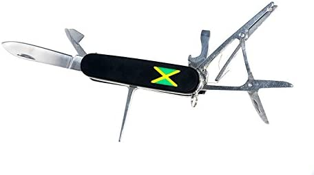 Jamaican Army Knife JAK – 420 Grade Stainless Steel 8-in-1 Multi-Function Smoker s Pocket Knife Tool Kit