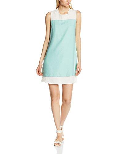 HotSquash Crepe Double Layered, Vestido para Mujer Green (Mint/Cream)