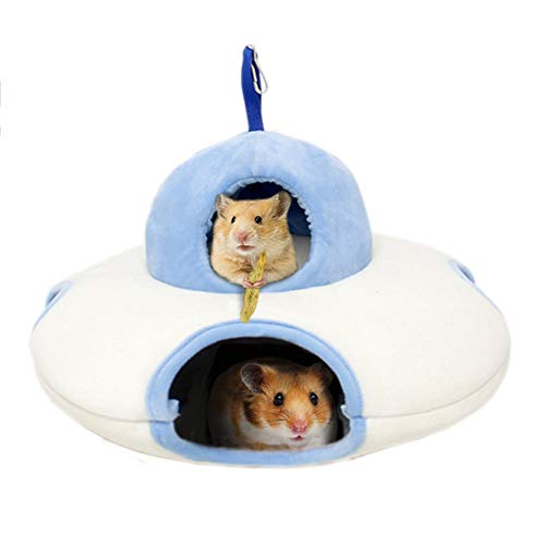 Tfwadmx Hamster Bed, Warm Hedgehog Hammock Pet Tunnel House Toy with Four Hole Cage Accessories for Hamster Small Animal