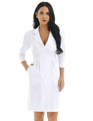 ACSUSS Womens Nurse Uniform Dresses Button Front White Hospital Nurse Scrub Dress White Small -