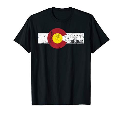 (State of Colorado Flag T Shirt Vintage Hiking Ski Shirt)