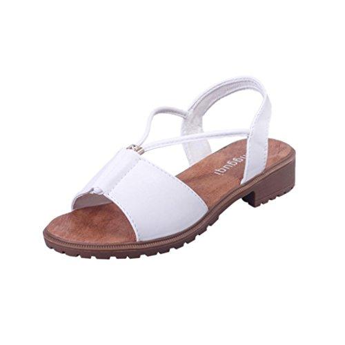 moda sandalias zapatos Blanco Bohemia de suaves Sandalias mujer vestir Ouneed Zapatos planos de 6qzwA4F