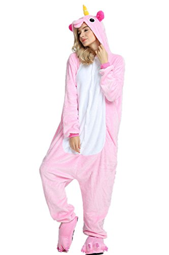 Missley Adult Unisex Flannel Animal Pyjamas Novelty Unicorn Nightwear Cosplay Costumes Halloween (L, Pink) ()