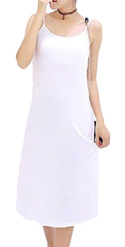 Cruiize Sangle Spaghetti Casual Modal Manches Femmes Robe Robe D'été De Midi Blanc