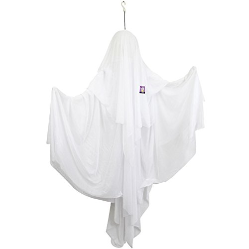Halloween Haunters 5 Foot Animated Hanging Spinning Scary All White Ghost Prop Decoration - Body Rotates, Screams, Laughs, Eyes Strobe - Battery Operated -