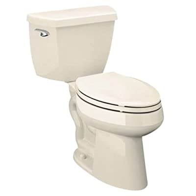 Kohler Highline Classic Pressure Lite Comfort Height Elongated 1.4 gpf Toilet with Left-Hand Trip Lever and Tank Cover Locks Less Seat