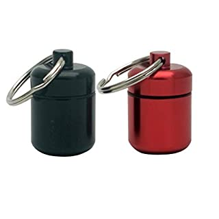 2 Packs Aluminum Pill Keychain Container and Medicine Keychain Holder
