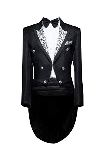 AngelSpace Men Trousers Jacket 2 Piece Set Double Breasted Satin Tail Tuxedo Black L ()