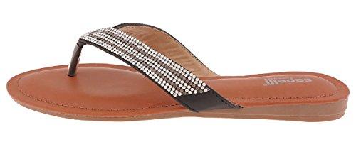 Capelli New York Damer Faux Skinn Flip Flop Med Rhinestone Trim Svart Combo