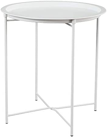 HOME BI Tray Metal End Table, Round Side Table, Nightstand Sofa Table for Living Room, Bedroom, White