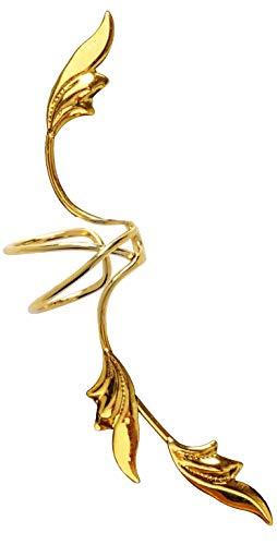 Ear Charms Delicate 3 Leaf Full Ear Spray Ear Cuff Non pierced Right Earring Wrap in Gold over Sterling ()