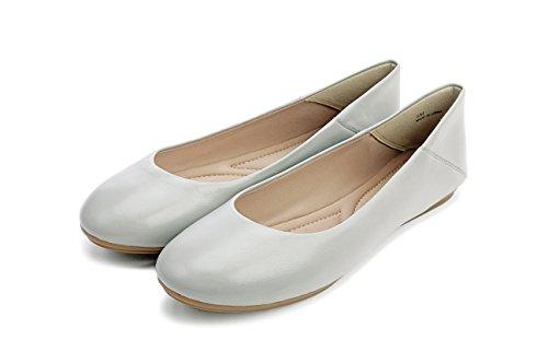 Pic / Betale Kay - Kvinners Lær Ballett Flat - Klassisk Rund Tå Komfortabel Slip-on Grå Skinn
