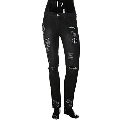 Nero Slim Skinny Con Fori Uomo Strappati Fit Stretch Neri Pantaloni Jeans Estivi gnaOf77q