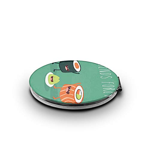 HEPKL Makeup Mirror Sushi Clip Art Mini Compact Mirror Travel Double Sided Magnification Portable Folding Cosmetic Mirrors ()