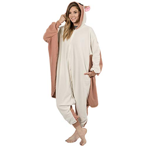 Emolly Fashion Adult Flying Squirrel Onesie Costume Pajamas for Adults and Teens (Medium) Light Brown ()