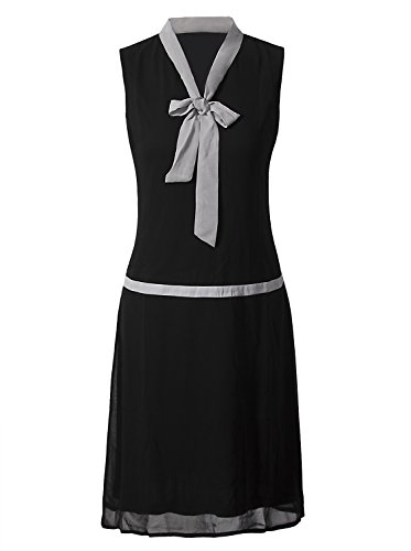 Vijiv Women Vintage 1920s Clothing V Neck Bowknot Roaring 20s Flapper Party Dress Prom,Large,Black