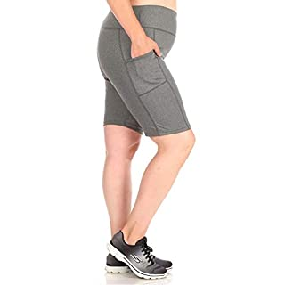 ShoSho Womens Plus Size High Waist Biker Shorts Tummy Control Sports Yoga Bottoms W/Side Pockets Heather Grey 2X