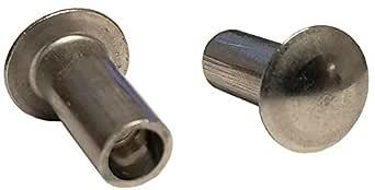 1//4 X 11//32 X 7//16 Oval HD SEMI-Tubular Steel Rivets ZINC Plated/_100 PCS Box