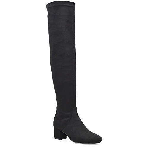 Womens Stretch ESSEX Suede Boots Faux Toe Low Over The GLAM Thigh High Leg Heels Black Square Winter Ladies Knee Block 55rOwFq