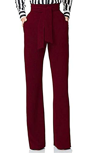 LKOUS Women Work Casual Stretchy Straight Wide Leg High Waisted Long Pants with Belt Wine L